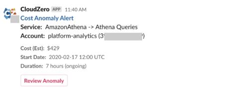 CloudZero Cost Anomaly Slack Alert